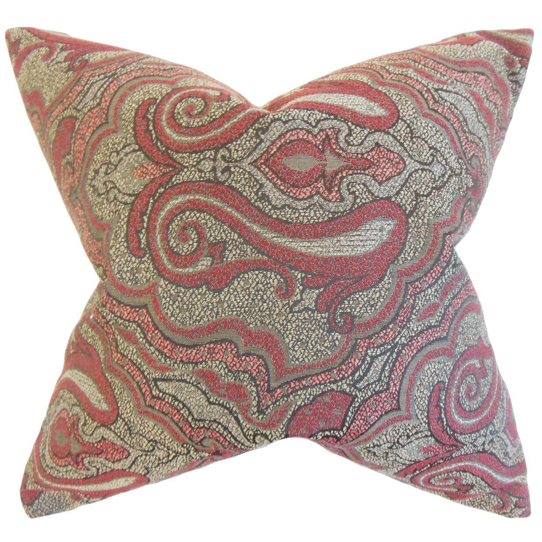 Wystan Damask Bedding Sham Size: Euro, Color: Red