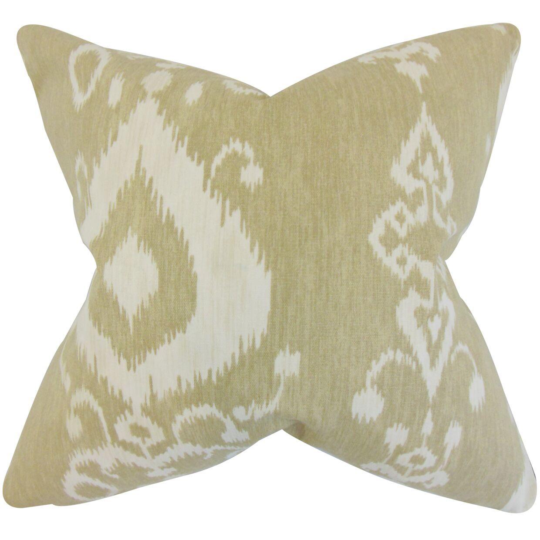 Katti Ikat Cotton Throw Pillow Color: Jute, Size: 24