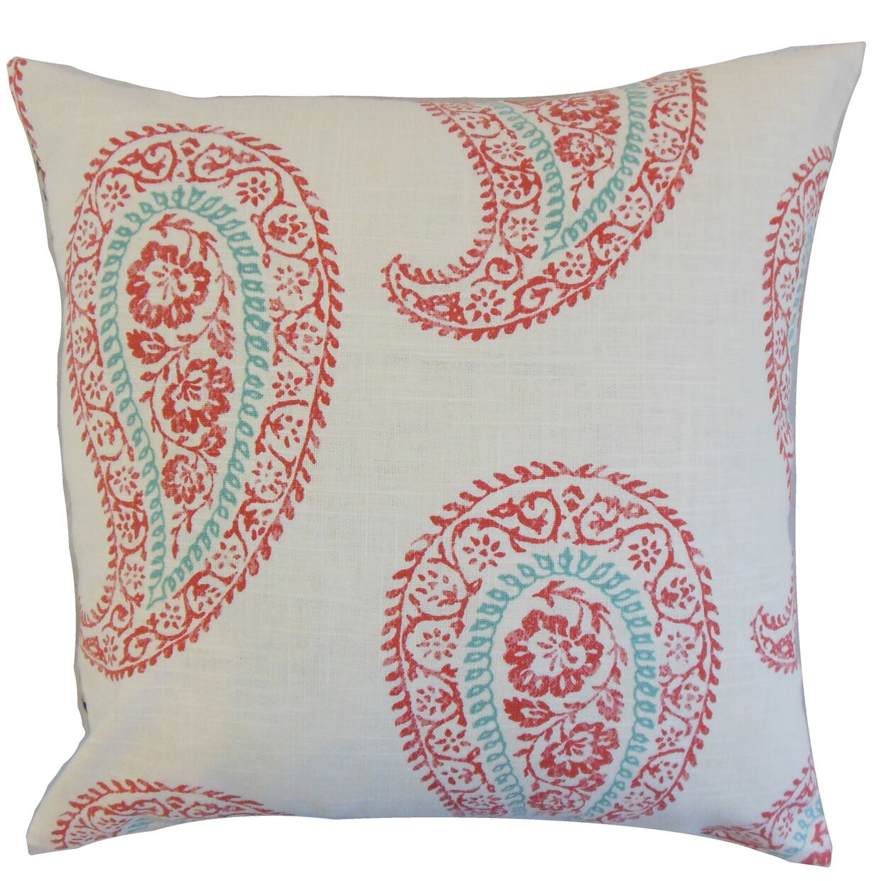 Neith Paisley Throw Pillow Color: Coral, Size: 24