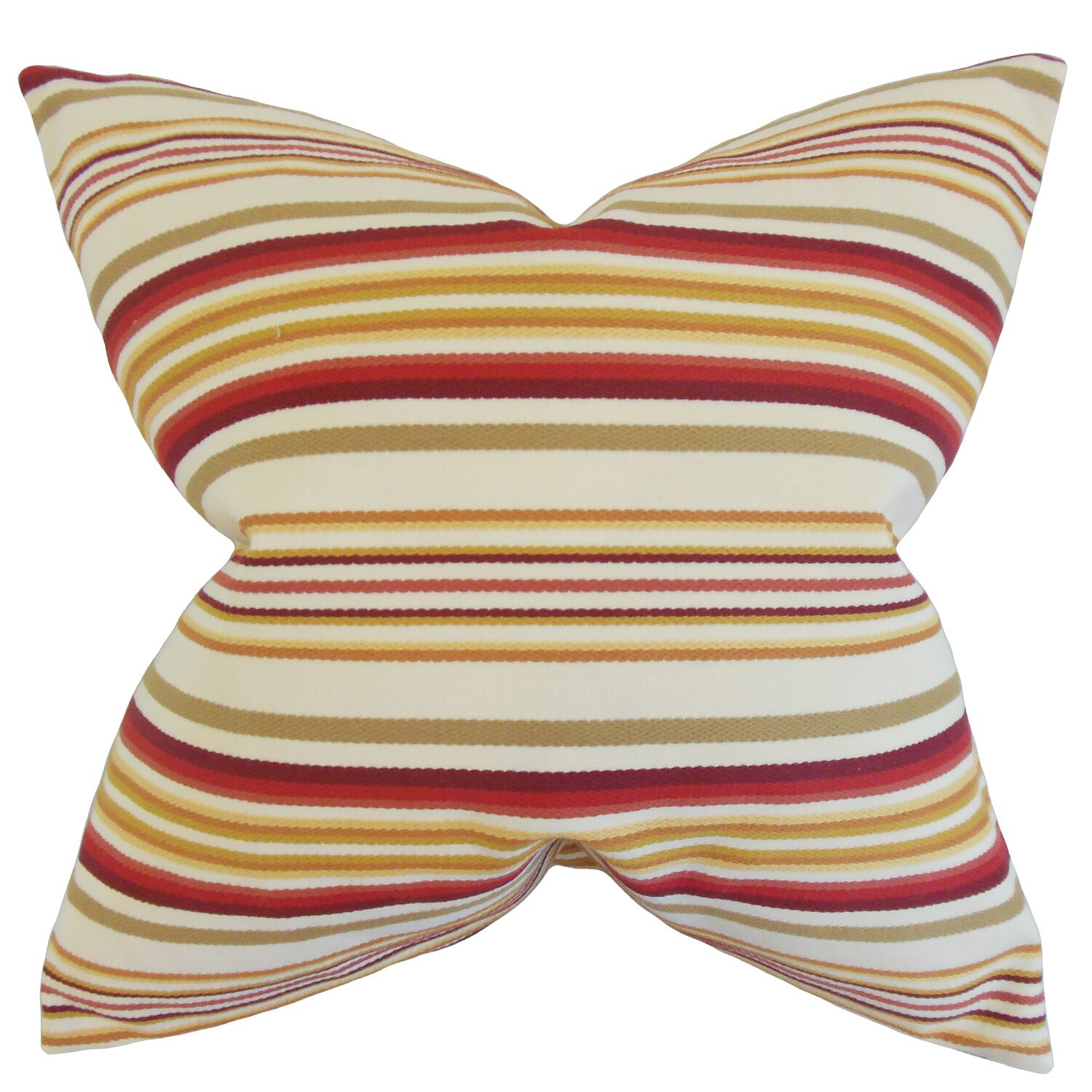 Magaidh Stripes Cotton Throw Pillow Color: Gold Red, Size: 24