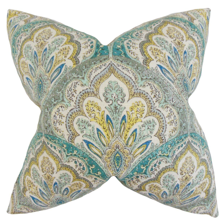 Xanthipe Paisley Cotton Throw Pillow Color: Caribbean, Size: 24