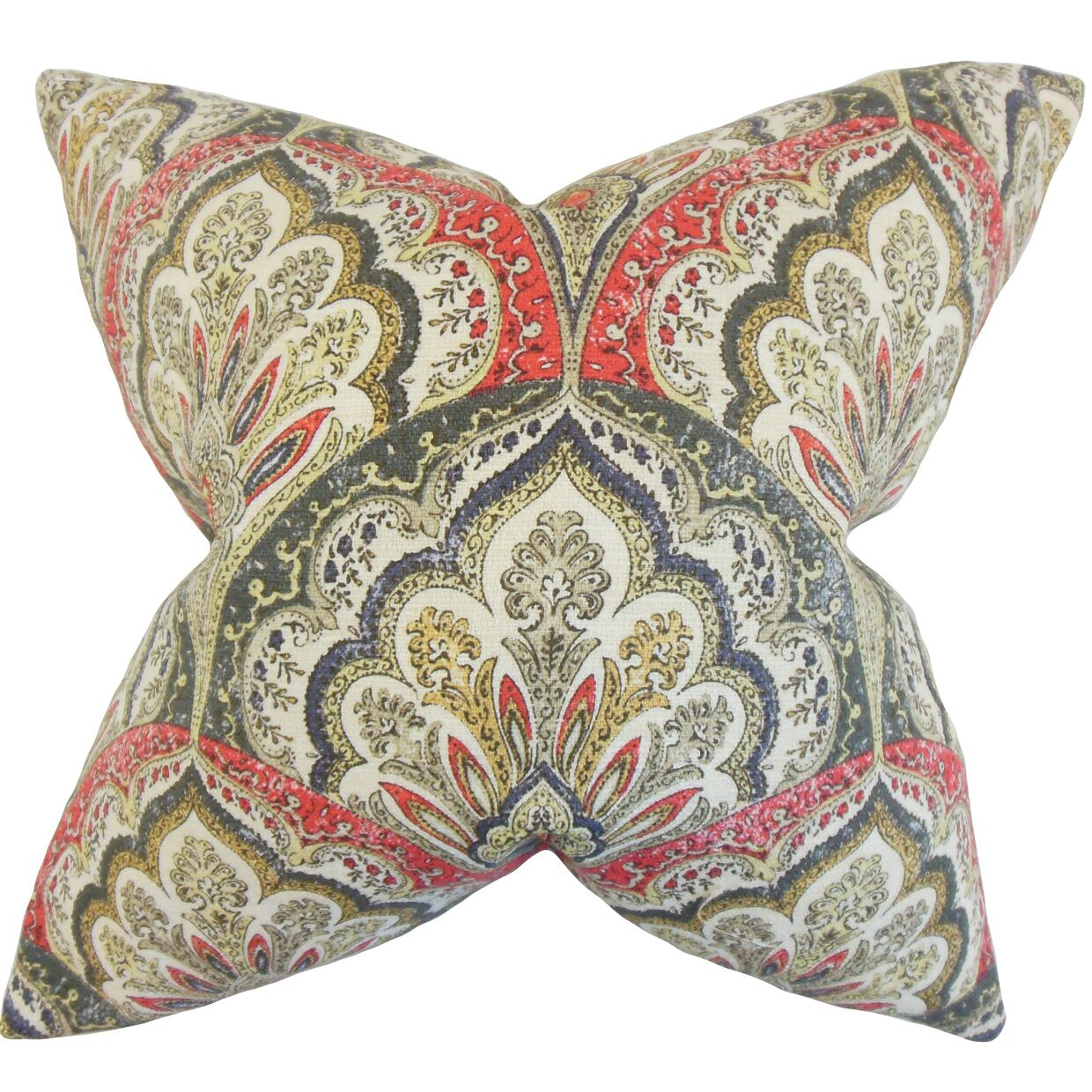 Xanthipe Paisley Cotton Throw Pillow Color: Flame, Size: 24
