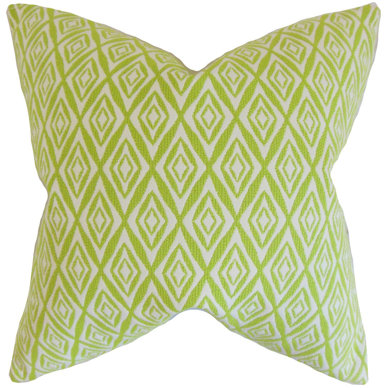 Najila Geometric Bedding Sham Size: Standard, Color: Green