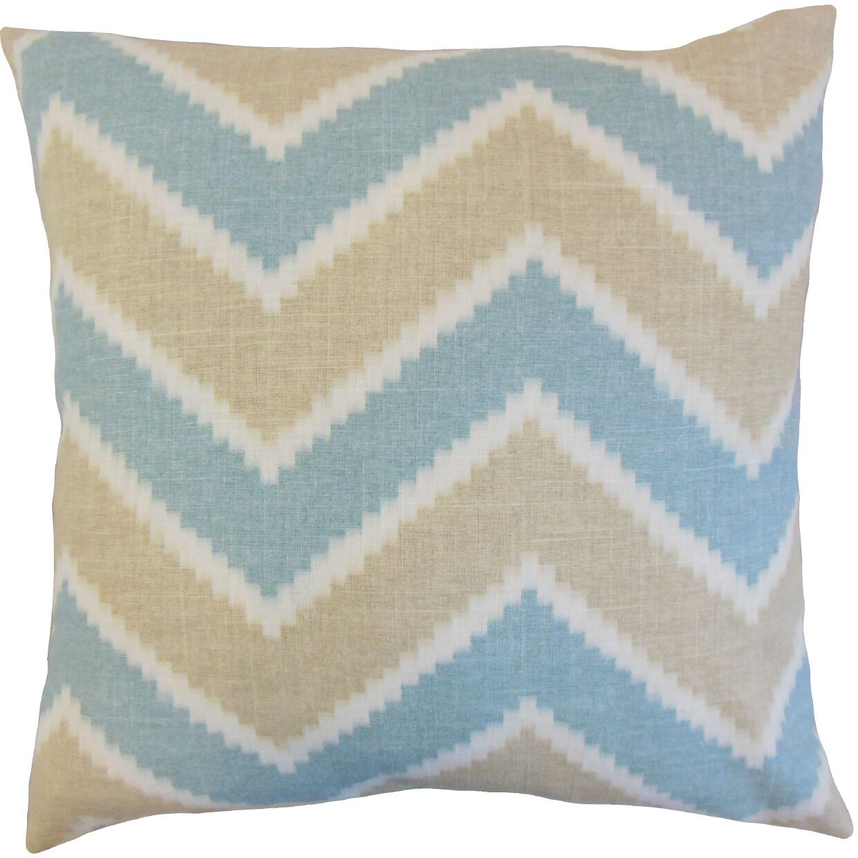 Hoku Zigzag Linen Throw Pillow Color: Surf, Size: 22