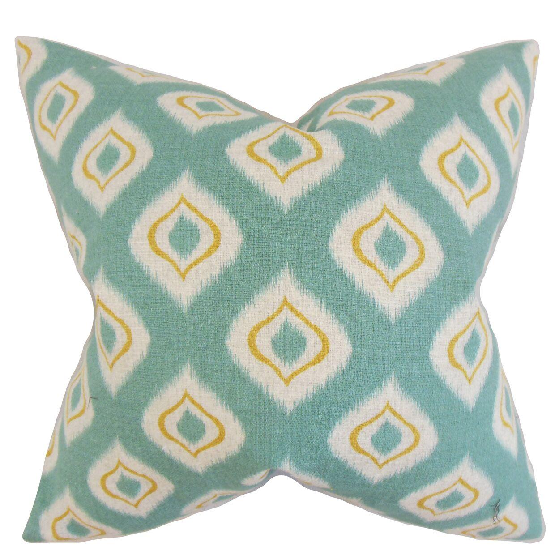 Dai Ikat Cotton Throw Pillow Color: Aqua, Size: 24