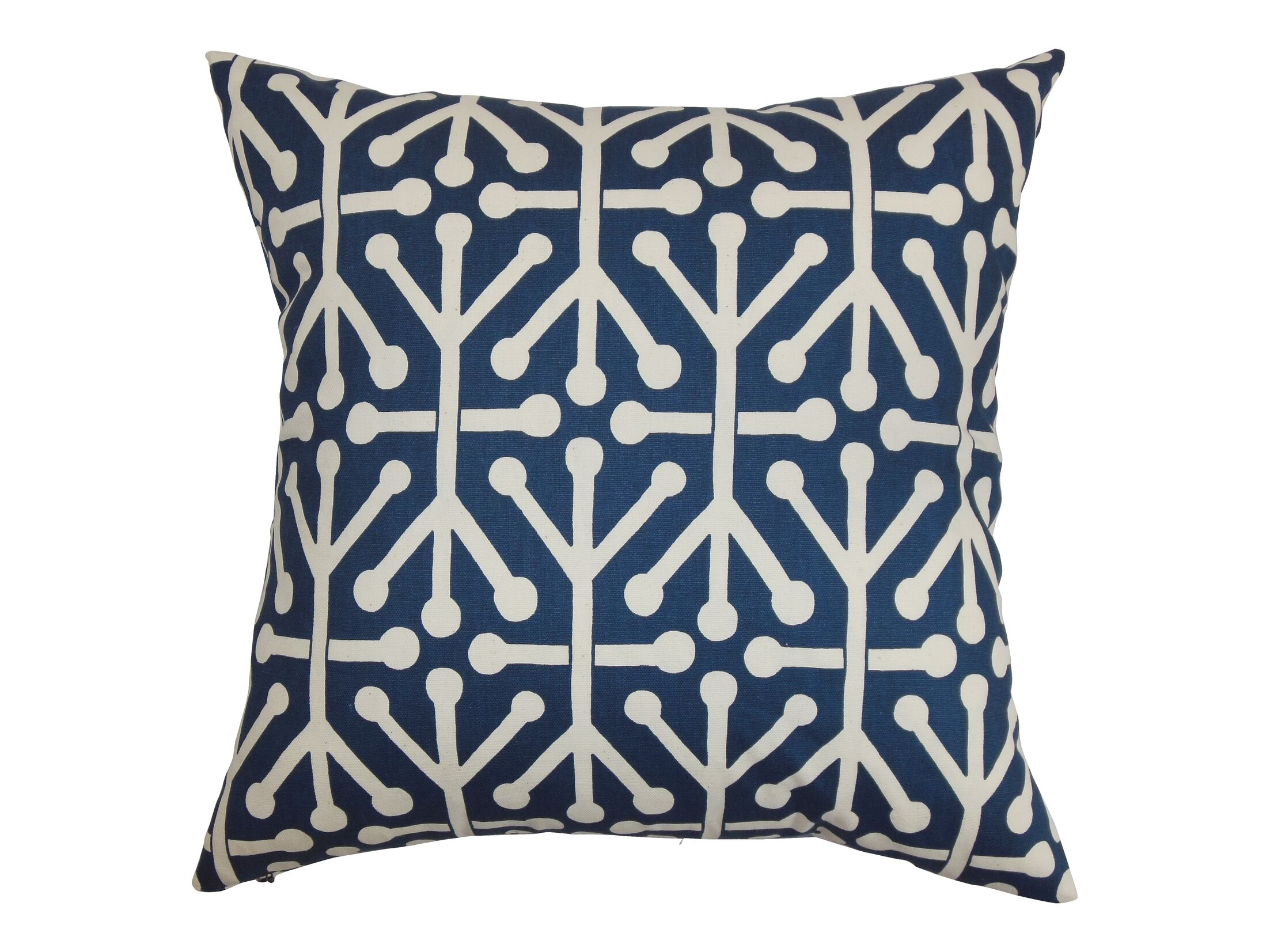 Heath Cotton Throw Pillow Color: Blue, Size: 20