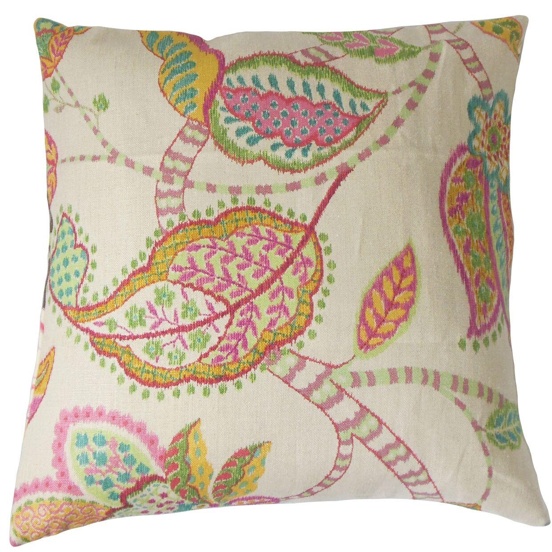 Mazatl Linen Throw Pillow Color: Pink, Size: 20