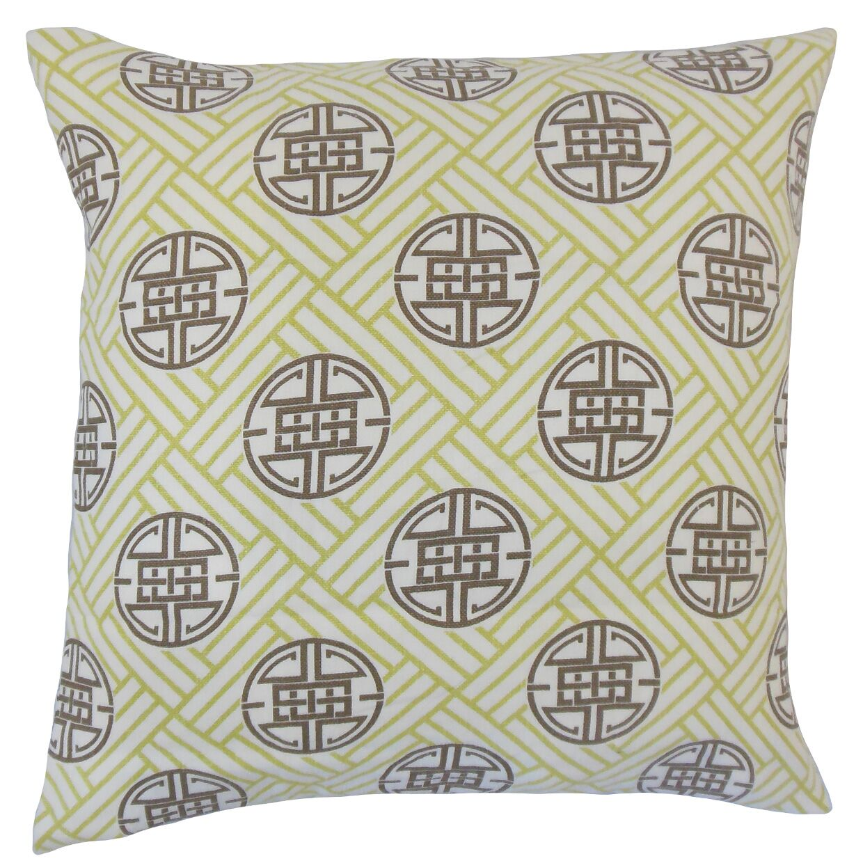 Delit Geometric Bedding Sham Size: King, Color: Lime
