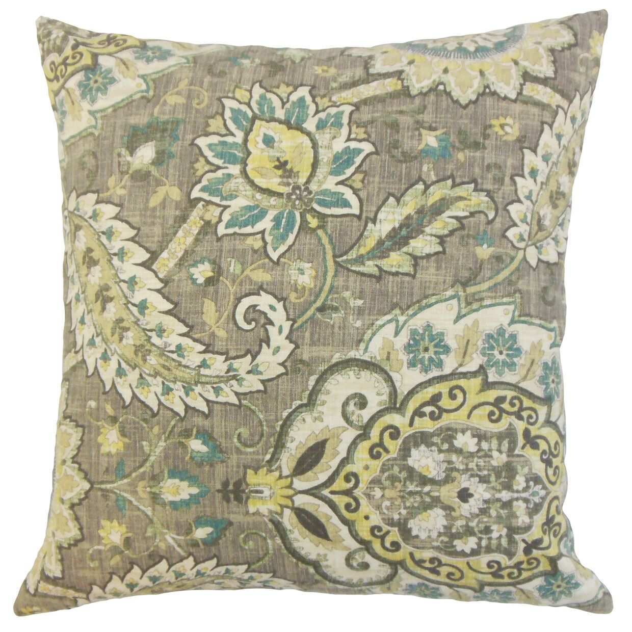 Harum Floral Throw Pillow Color: Platinum, Size: 20