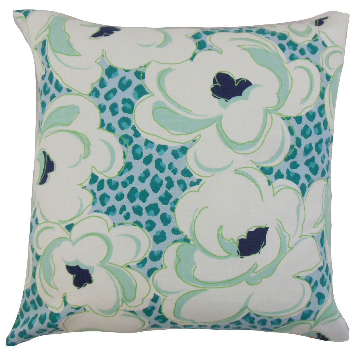 Ohara Floral Bedding Sham Color: Aquamarine, Size: King