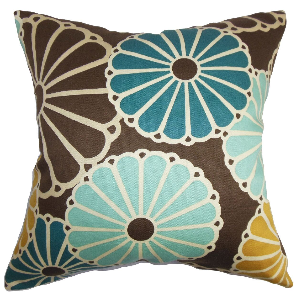 Gisela Cotton Throw Pillow Color: Turquoise / Brown, Size: 22