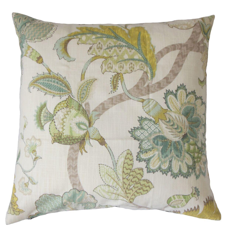 Chancery Floral Bedding Sham Color: Aqua/Green, Size: Queen