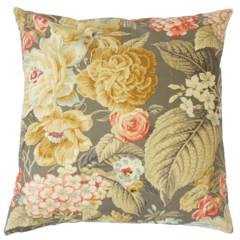 Fawzia Floral Cotton Throw Pillow Size: 22