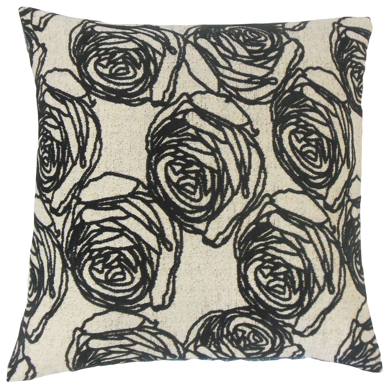Ilaria Floral Throw Pillow Color: Domino, Size: 22