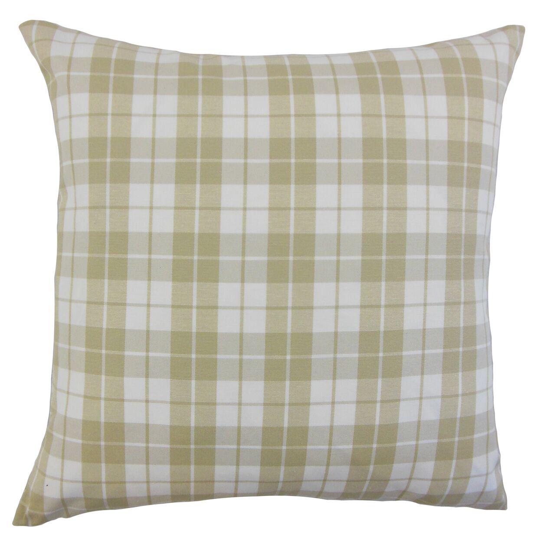 Joss Plaid Cotton Throw Pillow Color: Beige, Size: 22