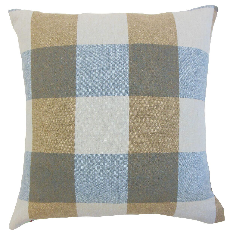 Amory Plaid Throw Pillow Color: Indigo, Size: 24