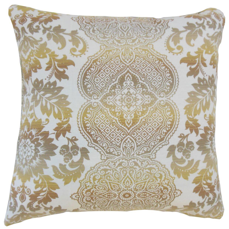 Orma Damask Throw Pillow Color: Limestone, Size: 24