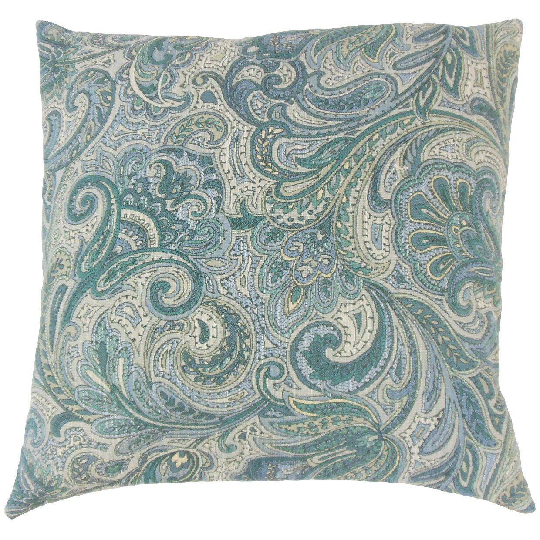 Vilette Paisley Throw Pillow Color: Danube, Size: 22