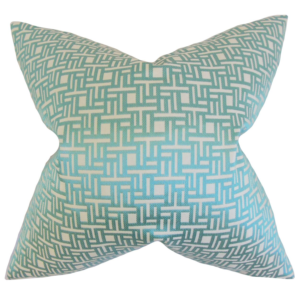 Daphnis Geometric Bedding Sham Size: Euro, Color: Aquamarine