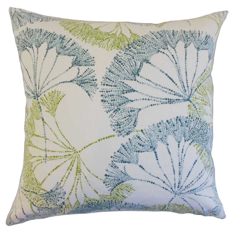 Grove Floral Bedding Sham Color: Aqua/Green, Size: Euro