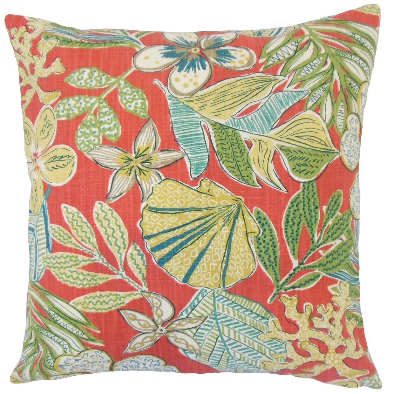 Felice Floral Bedding Sham Size: Euro, Color: Coral