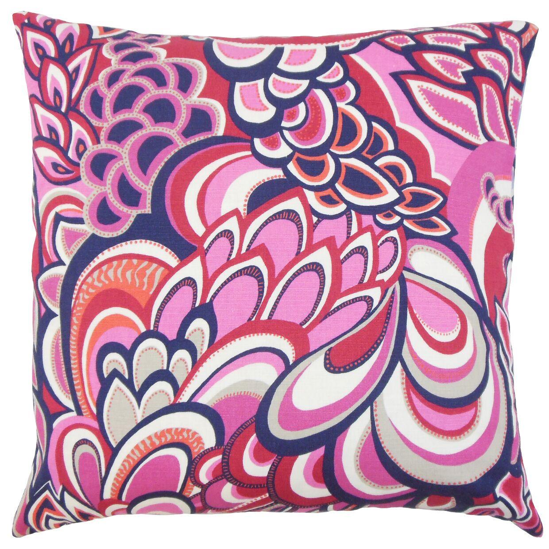 Michal Floral Bedding Sham Color: Berry, Size: Euro