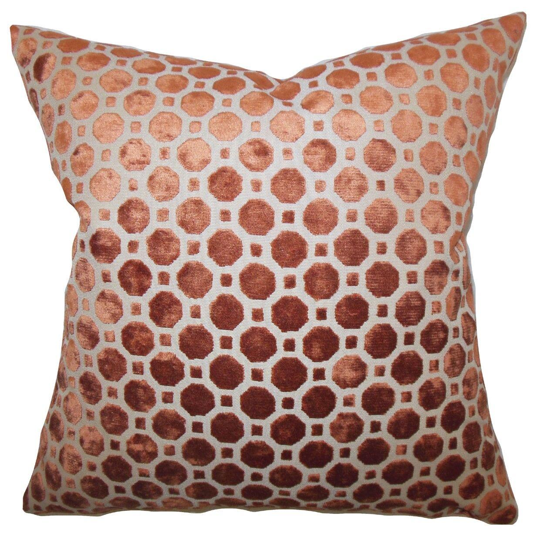 Maeve Geometric Bedding Sham Size: King, Color: Copper