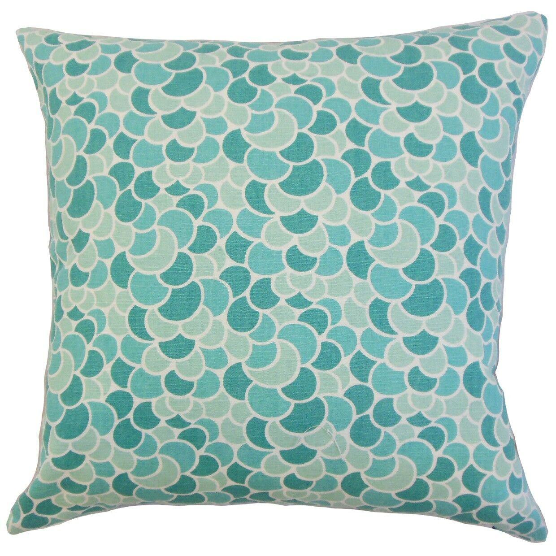 Lily Geometric Bedding Sham Size: Euro, Color: Aquamarine