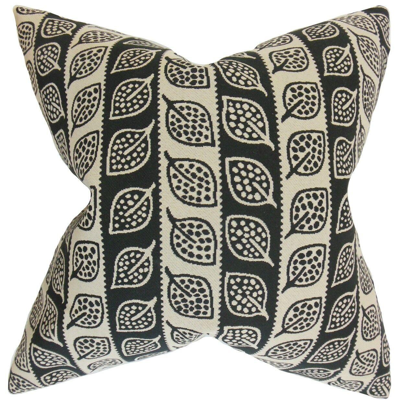 Ottilie Foliage Bedding Sham Size: Queen, Color: Black