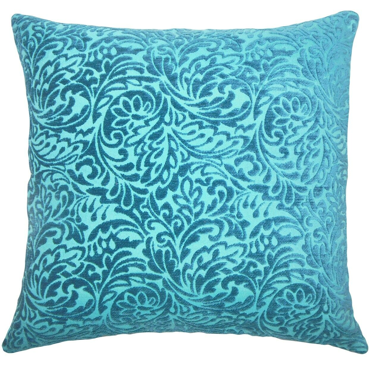Taline Damask Throw Pillow Color: Peacock, Size: 22