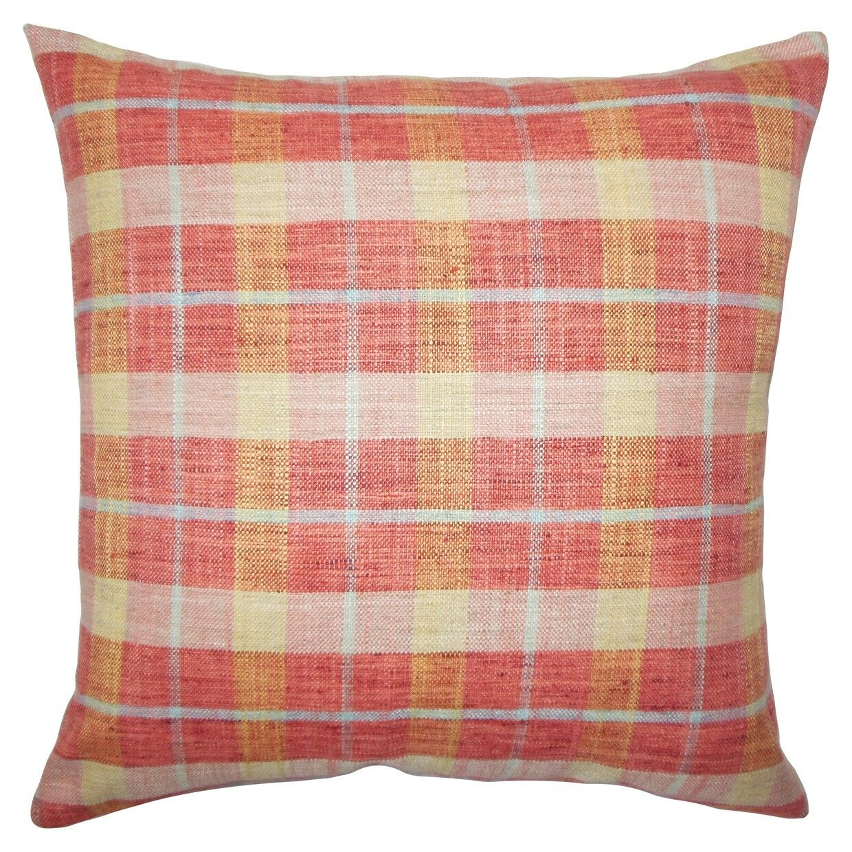 Quinto Plaid Throw Pillow Color: Strawberry, Size: 24
