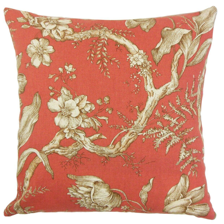 Ilise Floral Bedding Sham Color: Cranberry, Size: Standard
