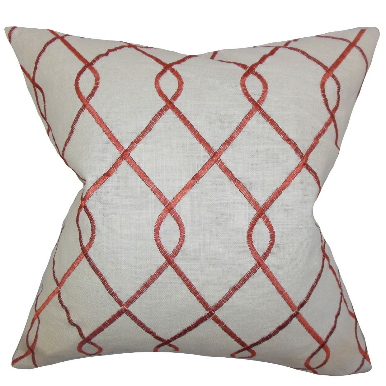 Jolo Geometric Bedding Sham Size: King, Color: Rosewood