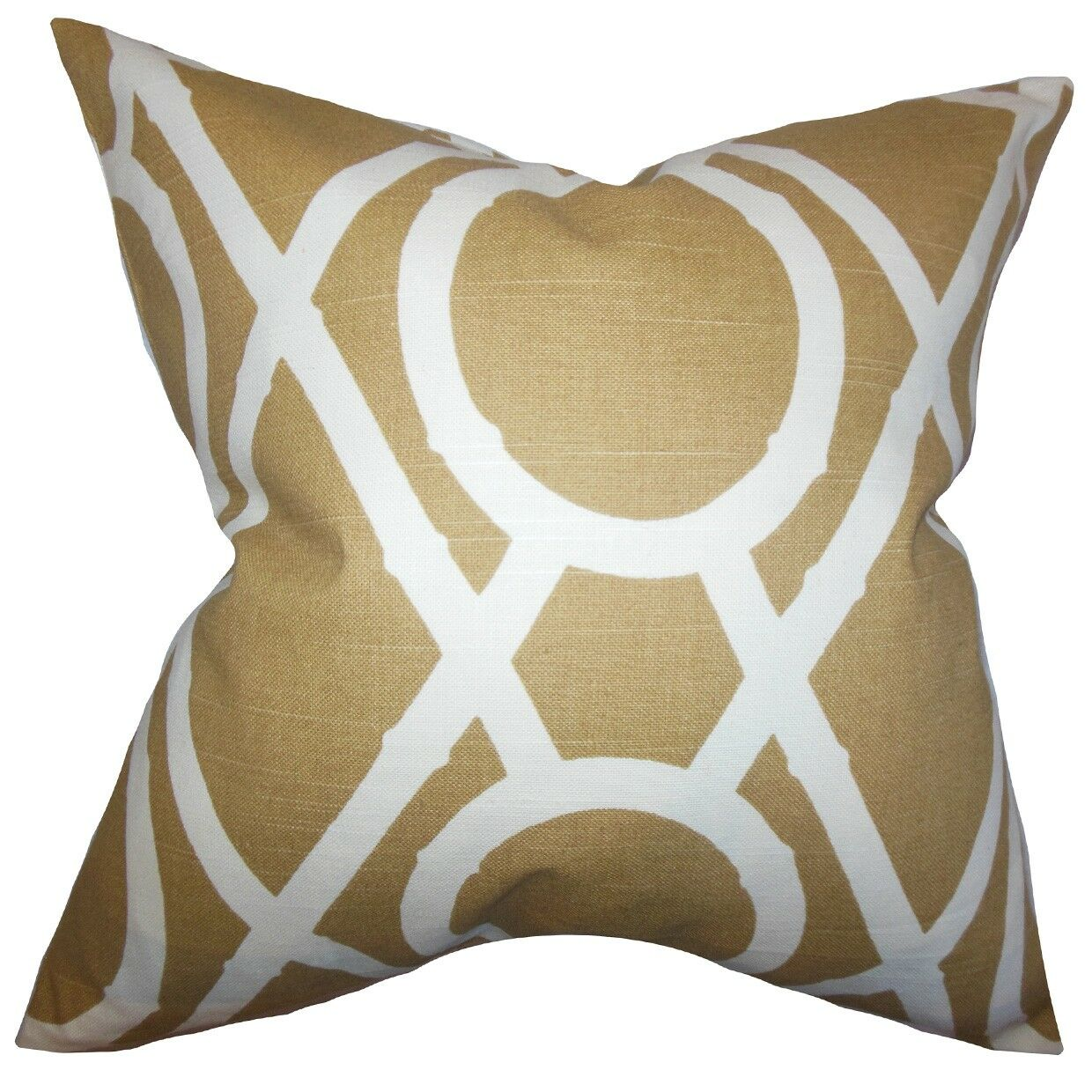 Whit Geometric Bedding Sham Size: Queen, Color: Amber