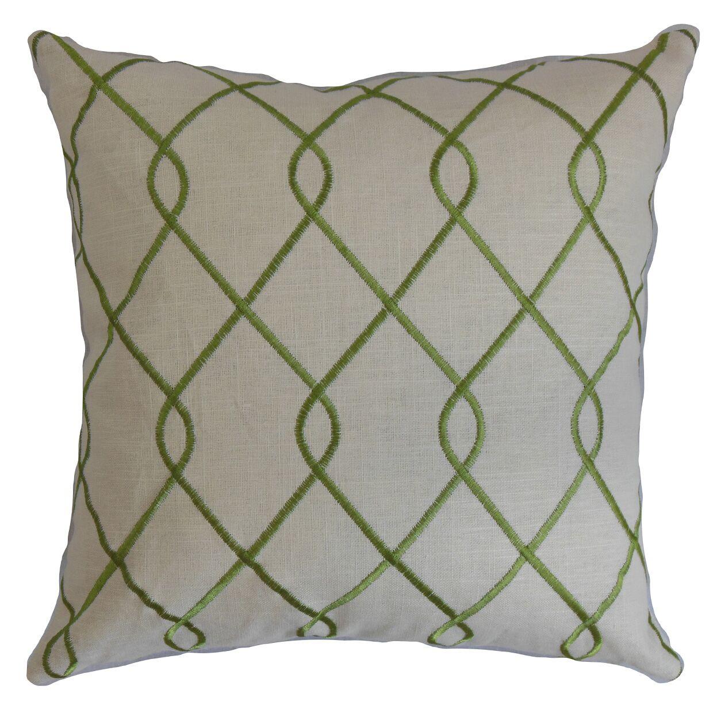 Jolo Geometric Linen Throw Pillow Color: Jungle Green, Size: 22