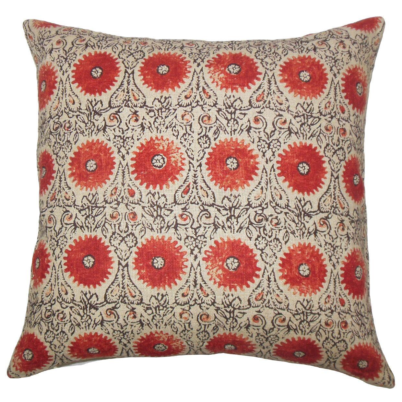 Xaria Floral Bedding Sham Size: Queen, Color: Spice