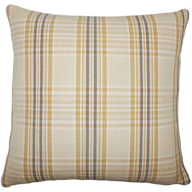 Joanna Plaid Cotton Bedding Sham Color: Natural Gold, Size: Standard