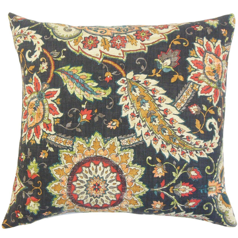 Harum Floral Bedding Sham Size: Queen, Color: Black