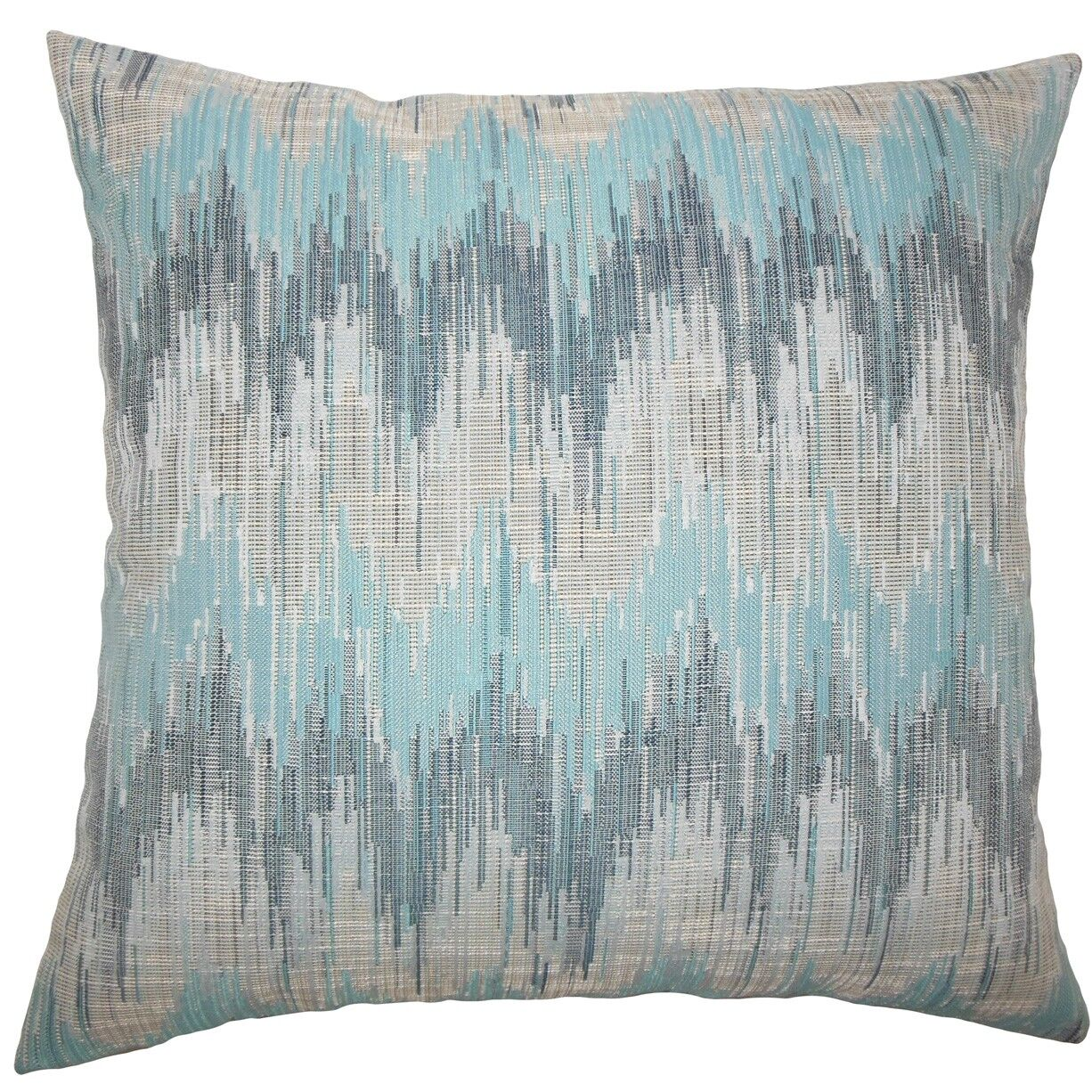 Fleta Ikat Throw Pillow Color: Teal, Size: 24