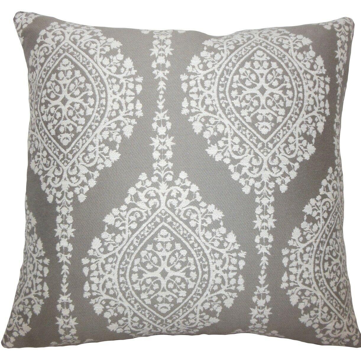 Zanthe Damask Throw Pillow Size: 18