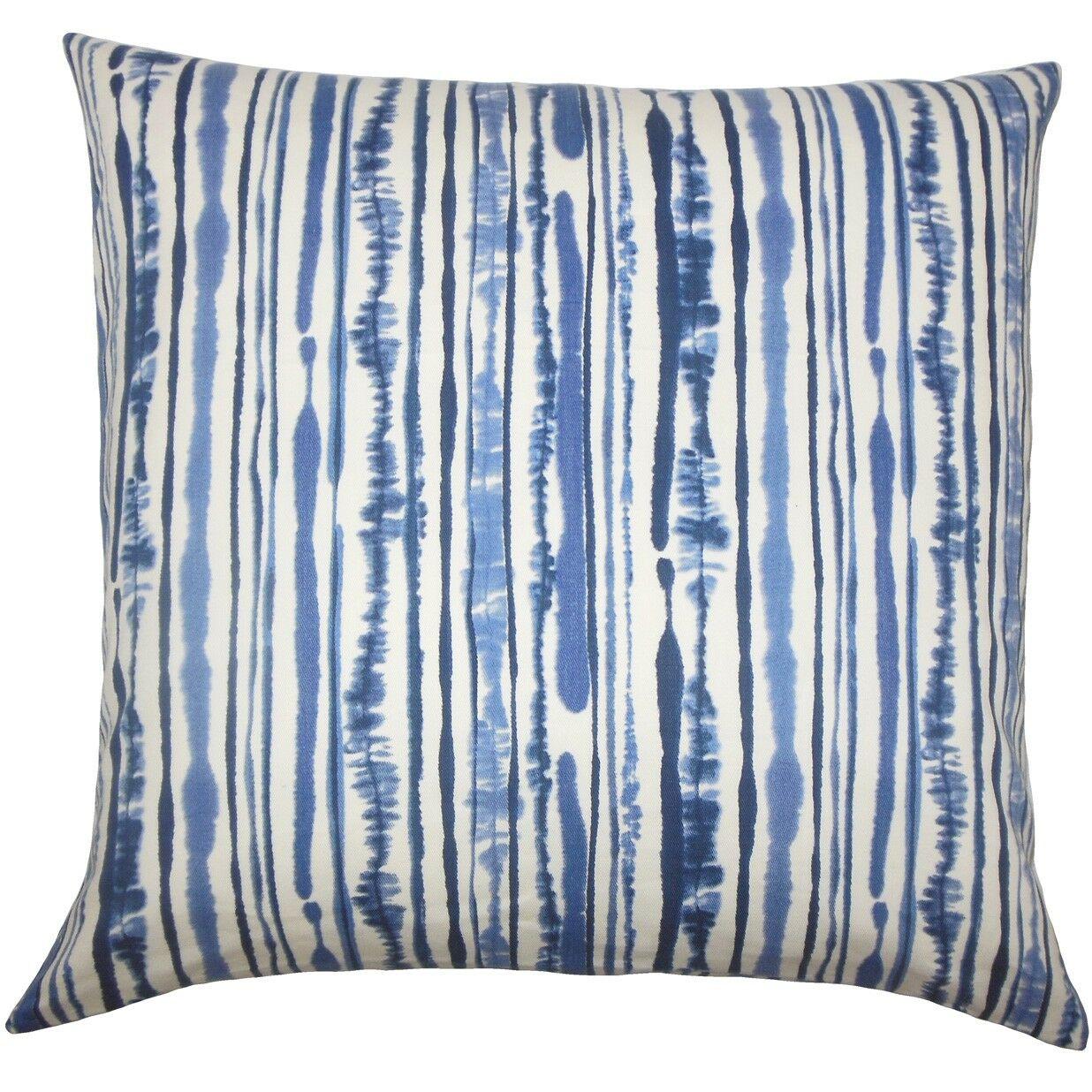 Jumoke Striped Cotton Throw Pillow Color: Navy, Size: 24