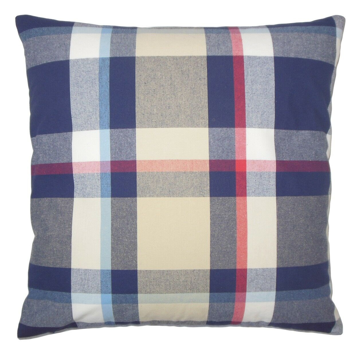 Ofer Plaid Cotton Throw Pillow Color: Red Blue, Size: 22