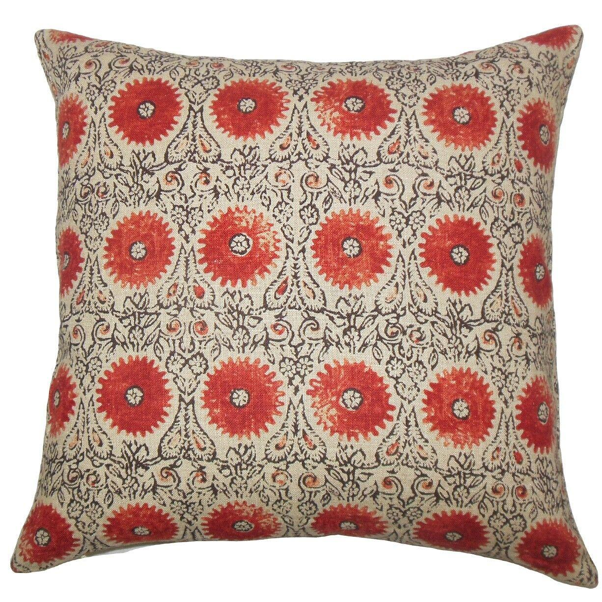 Xaria Floral Throw Pillow Color: Spice, Size: 22