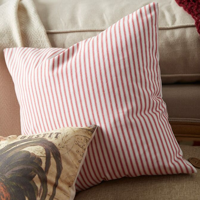 Ferebee Striped Cotton Throw Pillow Color: Red, Size: 18