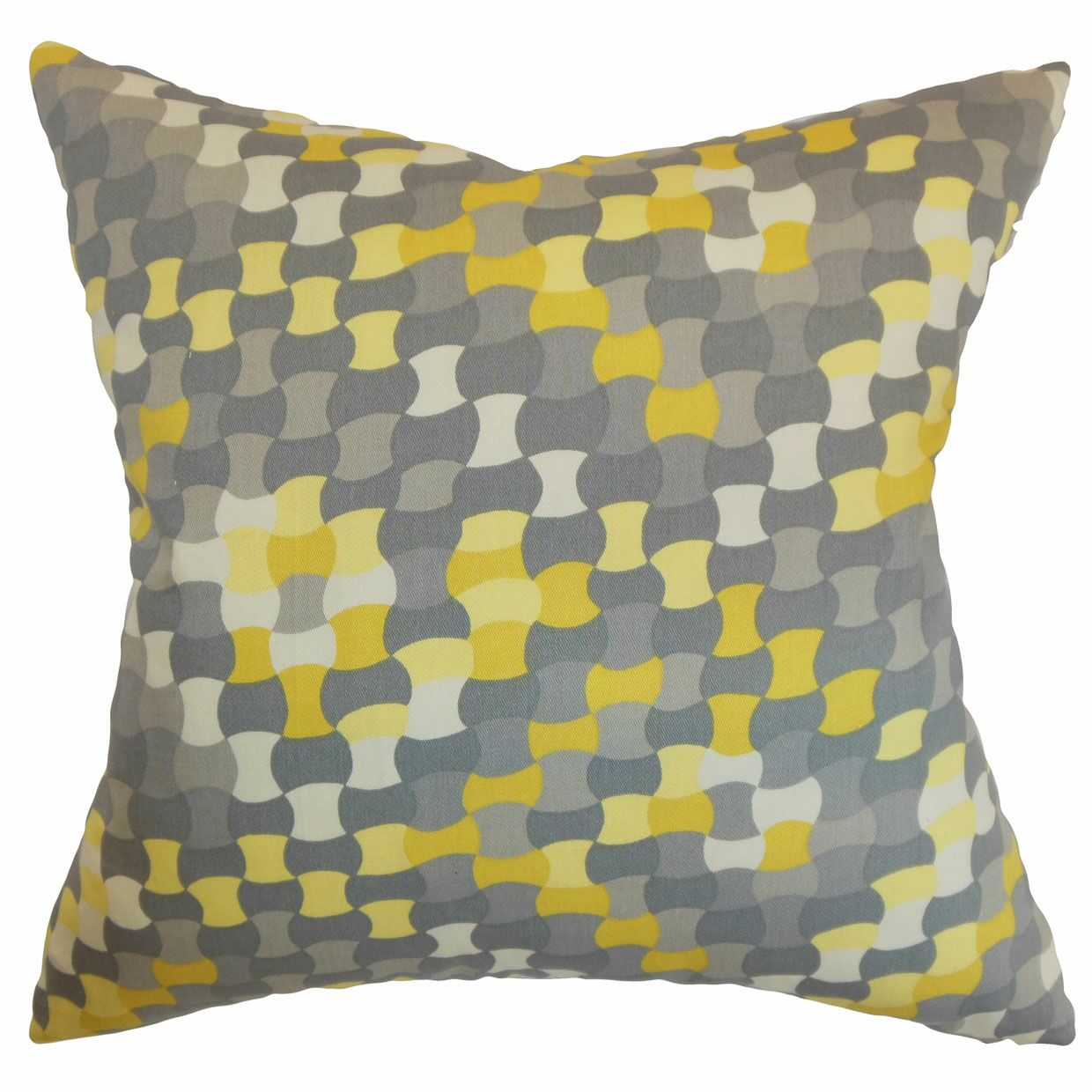 Clarence Geometric Floor Pillow Color: Canary