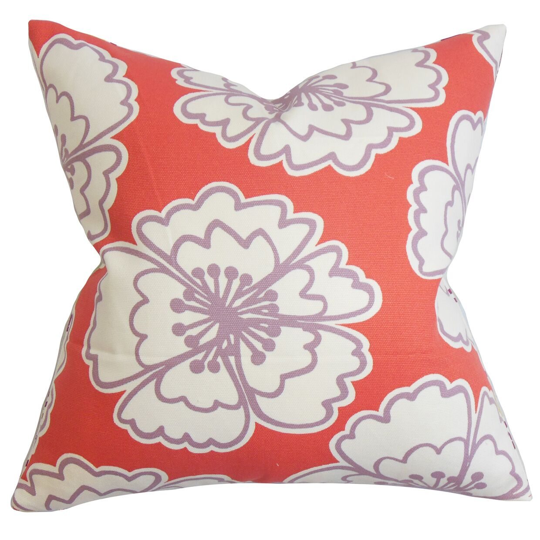 Burgoyne Floral Floor Pillow Color: Red