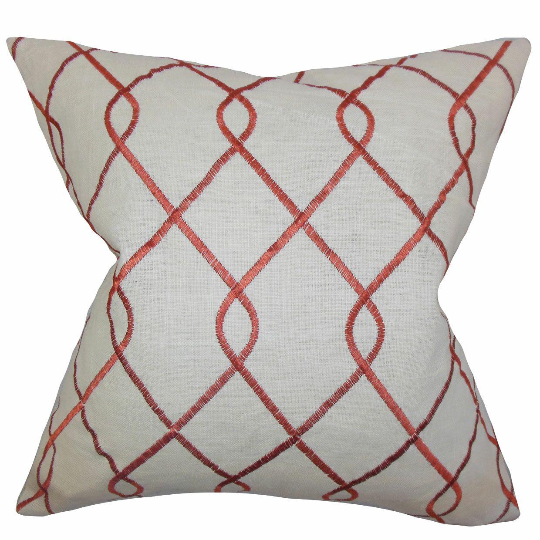 Ladarius Geometric Floor Pillow Color: Rosewood