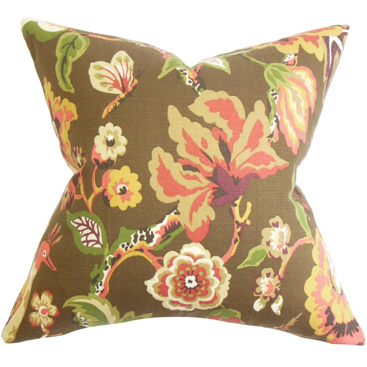Pearse Floral Floor Pillow Color: Chocolate Brown
