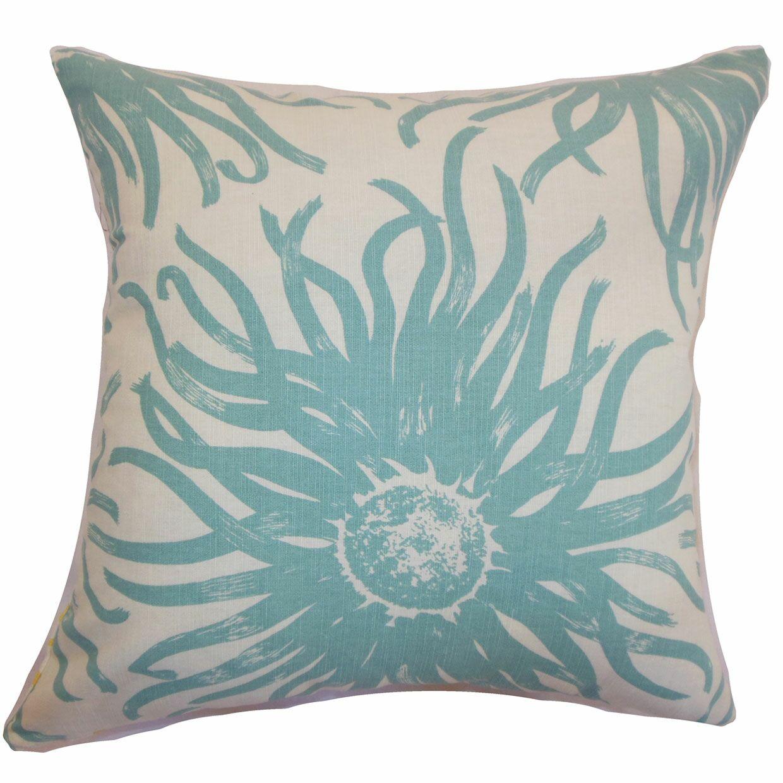 Melanie Floral Floor Pillow Color: Aqua