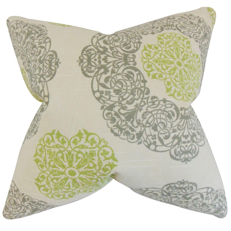 Caddington Geometric Floor Pillow Color: Green